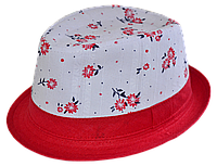 Шляпа челентанка комби красная ветка