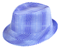 Шляпа челентанка х/б голубая клетка