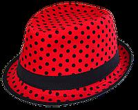 Шляпа челентанка комби черн.горох на красном фоне