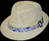 Шляпа челентанка солома бирюзовая газета