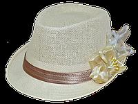 Шляпа челентанка солома цветы бежевые