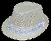 Шляпа челентанка солома цветы белые
