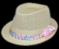 Шляпа челентанка солома цветы мелочь розовая