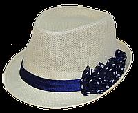 Шляпа челентанка солома цветы синие