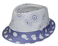 Шляпа челентанка комби голубая принтовка