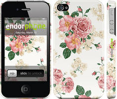 """Чехол на iPhone 4 цветочные обои v1 """"2293c-15"""""""
