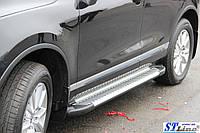 Volkswagen Touareg 2002-2010 гг. Боковые площадки Line (2 шт., алюминий)