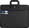 Портфель В4 пластик с двумя ручками, ткан боками ВМ.3733-01 (черн)