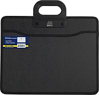 Портфель В4 пластик с двумя ручками.  ткан боками ВМ.3733-01 (чорн)