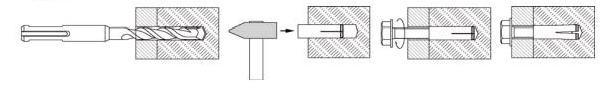Схема монтажа анкер-дюбель забивной