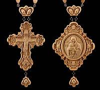 Комплект Панагия Почаевская Божья Матерь, Крест наградной №2