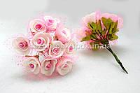 Роза фатин  (цена за букет 10 шт) Белая с розовой серединкой