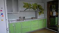 Маленькая угловая кухня в современном в салатовом цвете с пластиковыми фасадами в алюминиевой рамке