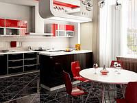 Кухня в современном стиле  в красно-черном цвете с пластиковыми фасадами в алюминиевой рамке