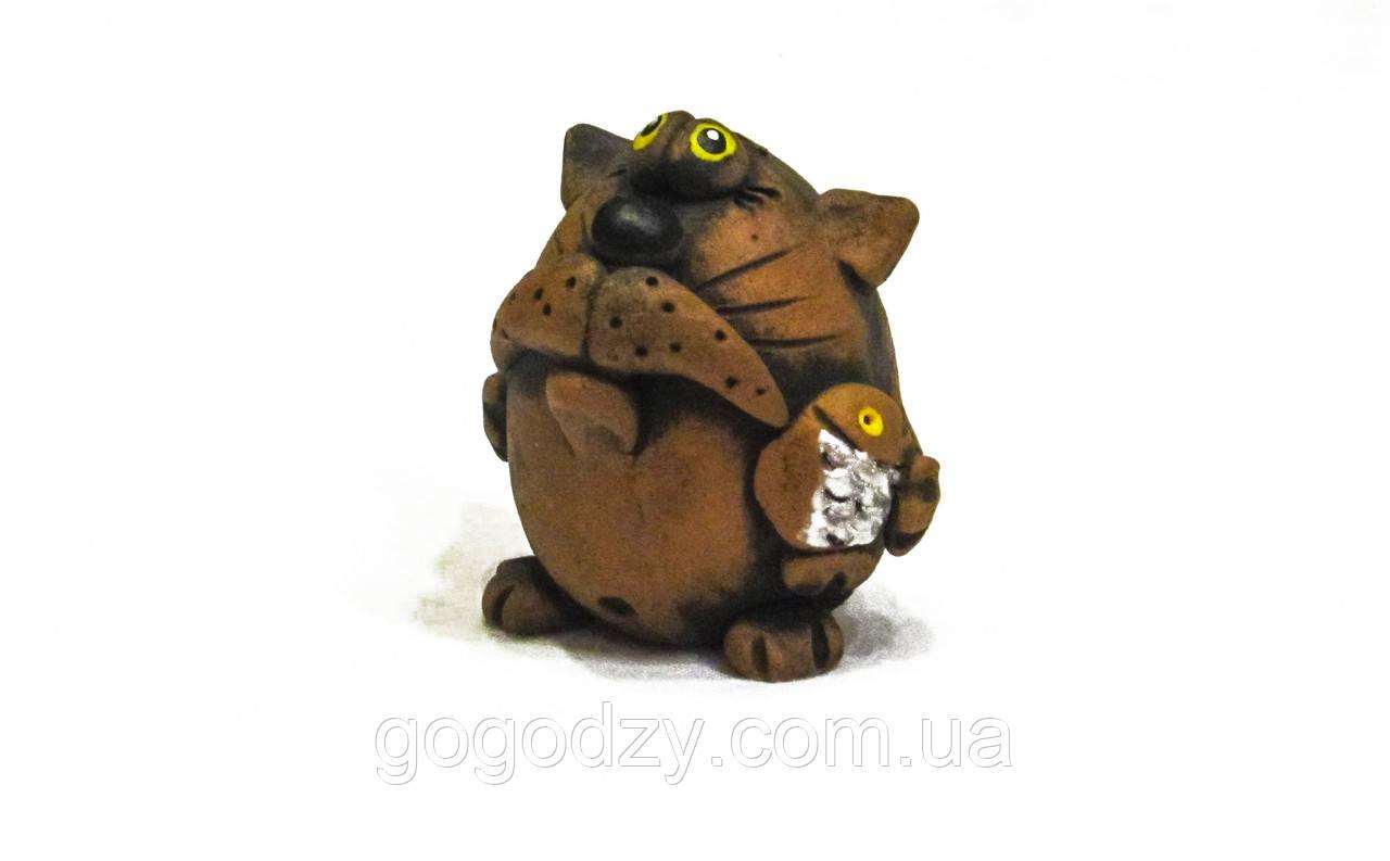 Керамічна фігурка Кіт з рибою
