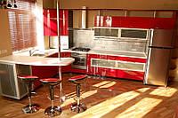 """Угловая кухня в современном стиле """"Экцентрика"""" с крашенным фасадом  в красно-белых цветах"""