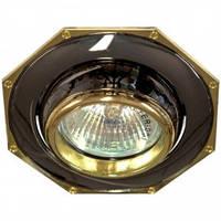 Точечный светильник (декоративное литье)Цоколь G5.3 черный-золото Feron 305T