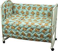 """Спальный комплект, дизайн """"Мишки спят"""", 4 предмета, голубой"""