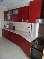 """Кухня в современном стиле """" Алый рассвет"""" с крашенными фасадами в МДФ в красном цвете"""