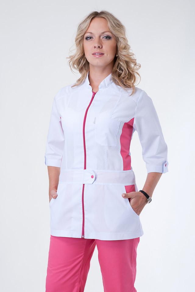 Комбинированный медицинский костюм на молнии с имитацыей пояса