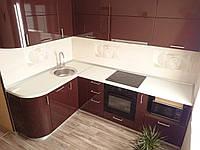 Маленькая угловая кухня в современном стиле ,,Шоколад,, с крашенными фасадами в МДФ