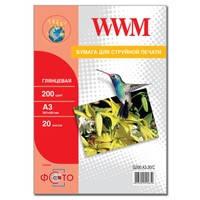 Фотобумага WWM глянцевая 200г/м кв , A3 , 20л (G200.A3.20/C)