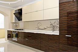 Кухня в современном стиле с шпонированным МДФ фасадом под дерево в молочном цвете