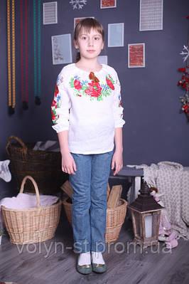 Вышиванка-реглан для девочки,с длинным рукавом