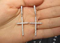 Серьги Кресты с камнями серебро 925