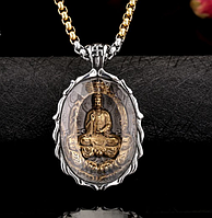 Унисекс Кулон подвеска Будда с большим  кристаллом сталь 316L