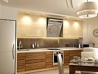 Кухня в современном стиле с шпонированным МДФ фасадом под дерево в цвете капуччино