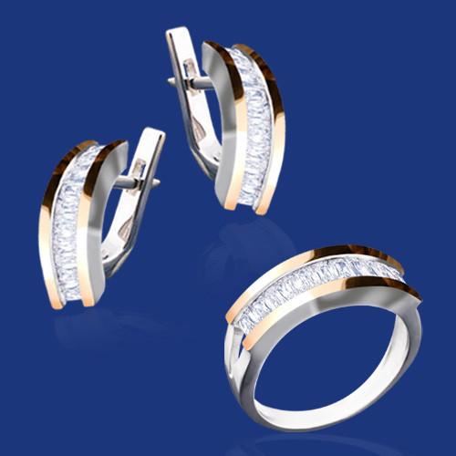 Серебряный комплект Кристалл: серьги и кольцо с золотом и фианитами 33387-33386