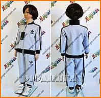 Детский костюм адидас серый с черными манжетами