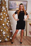 Платье женское с коротким рукавом черное
