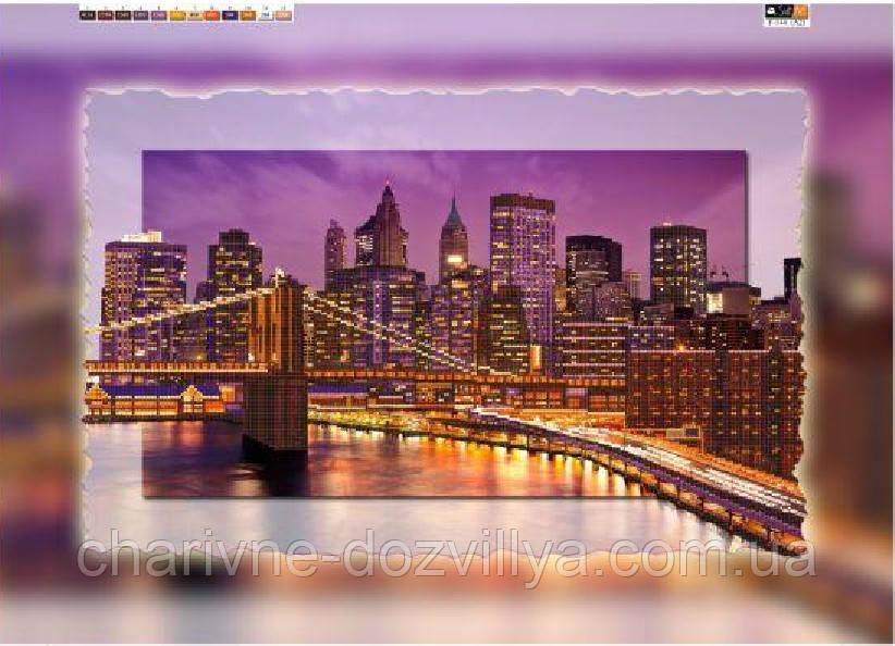 """Схема для вышивки бисером на подрамнике (холст) """"Ночной Нью-Йорк"""""""