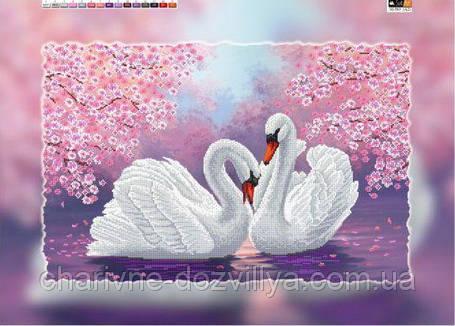 """Схема для вышивки бисером на подрамнике (холст) """"Пара лебедей"""", фото 2"""