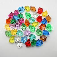 Искусственный лед 25х15мм камушки, кристаллы  пластиковые декоративные (цена за 30шт). - МИКС