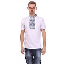 "Мужская футболка вышиванка на белом трикотаже ""Солнышко"", фото 3"