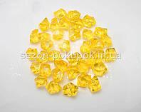 Искусственный лед 25х15мм камушки, кристаллы  пластиковые декоративные (цена за 30шт). Цвет насыщенный желтый