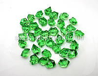Искусственный лед 25х15мм камушки, кристаллы  пластиковые декоративные (цена за 30шт)Цвет зеленый бутылочный
