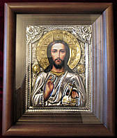 Иконы в серебряных окладах. Икона серебряная Господь Вседержитель  (№62)