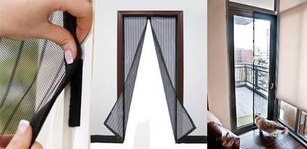 Антимоскитная сетка на магнитах в дверной проем коричневая с цветами 120*210 см, фото 3