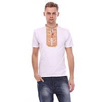 Трикотажная футболка вышивка гладью с коричневой вышивкой