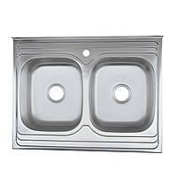 Мойка кухонная две чаши накладная 80*60 сатин Platinum 0,8 мм глубина 18 см