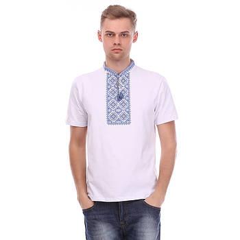 Мужская футболка вышиванка белая- синий орнамент
