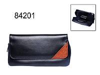 Сумка 84201 д.2-х трубок черная/коричневая .экокожа