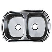 Мойка кухонная с двумя чашами Platinum 7749D декор