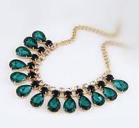 Ожерелье позолоченное «Изумрудная зелень»