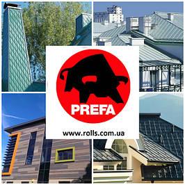Алюминий для фальцевых кровель и фасадов Prefa (Германия)