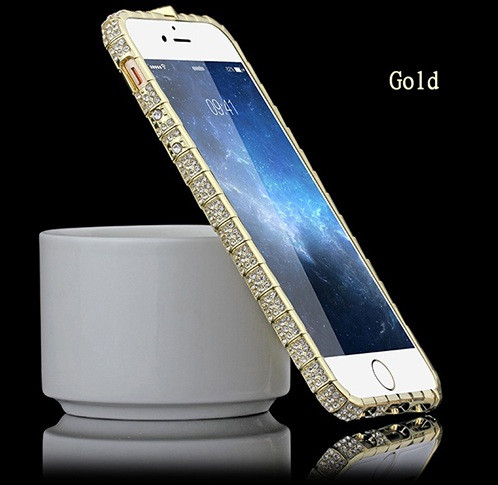 Бампер металлический со стразами Snake для iPhone 6 6S Plus